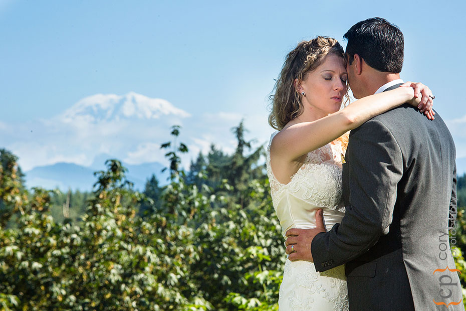 wedding portrait with mt ranier view