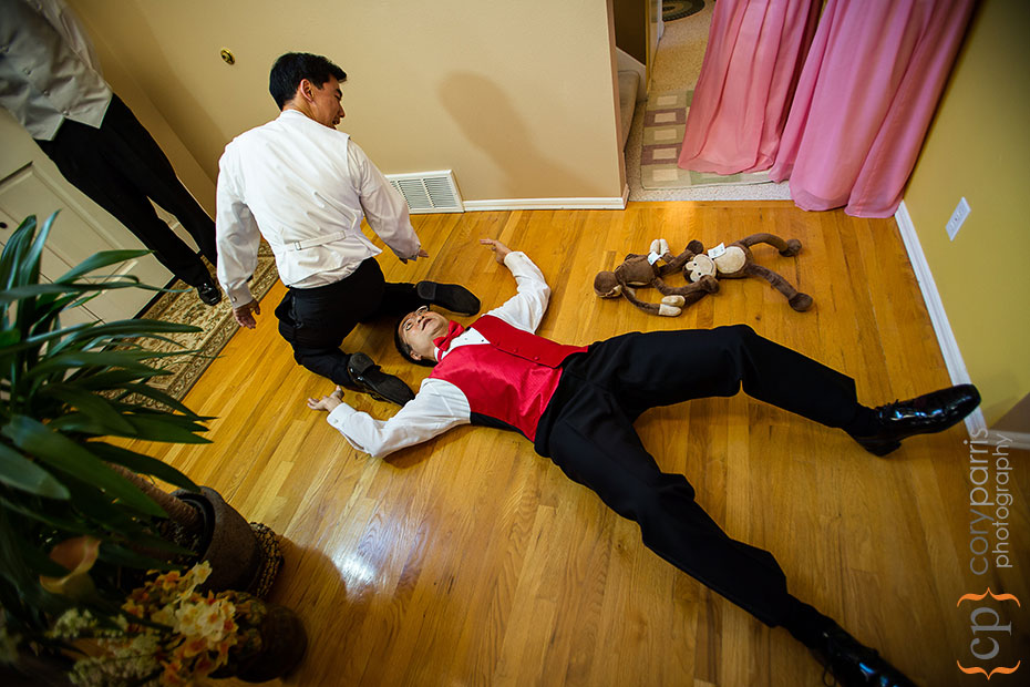 Groom and groomsman in odd positions