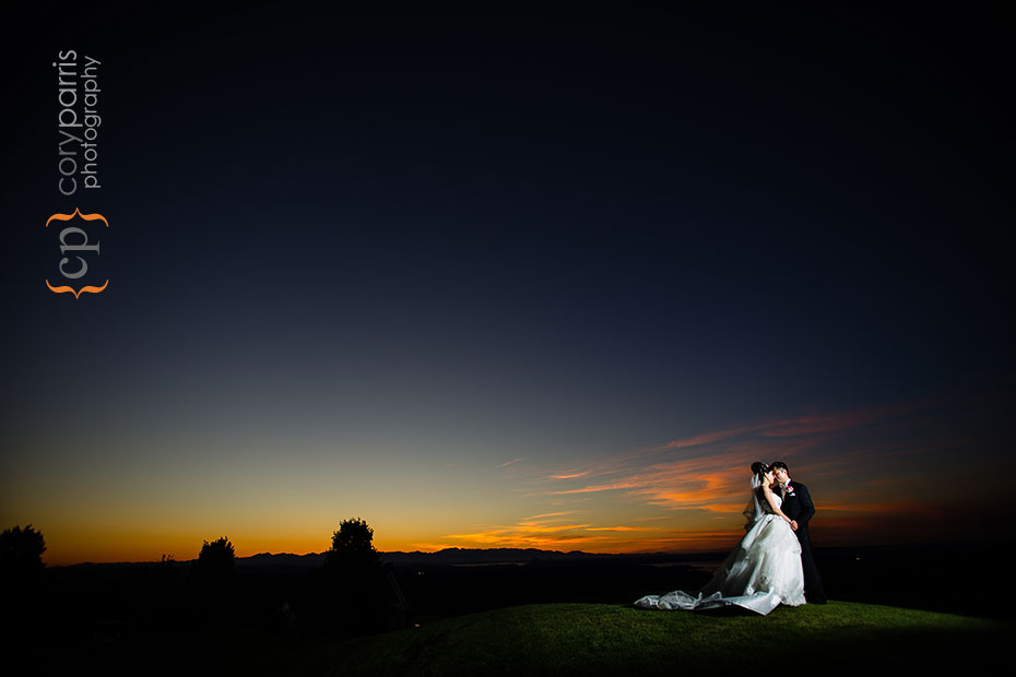bride and groom sunset portrait at the Golf Club at Newcastle