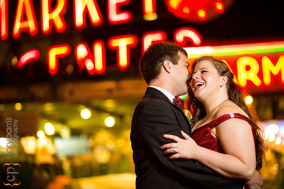 Market sign and wedding couple portrait