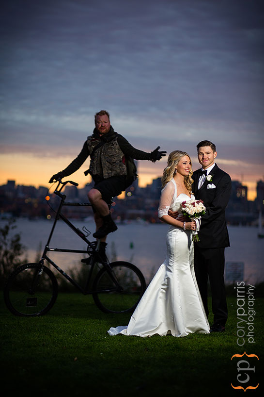 bride and groom with freaky cyclist