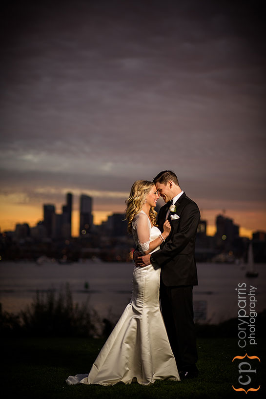sunset wedding portrait at Gas Works Park
