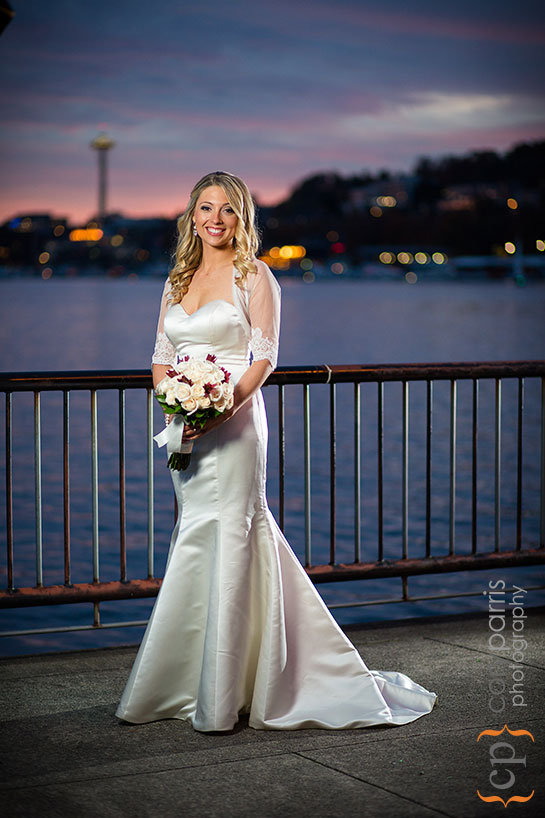 bridal portrait at sunset in Seattle