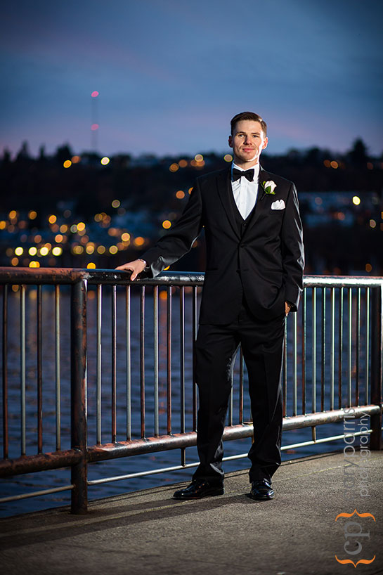 portrait of groom at Gas Works Park