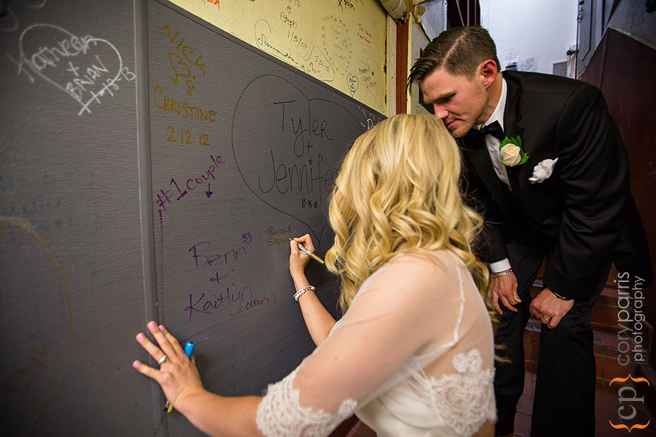 signing the wall at Lake Union Cafe