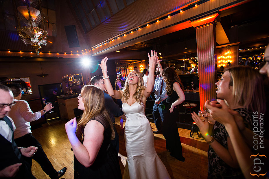 bride dancing at lake union cafe