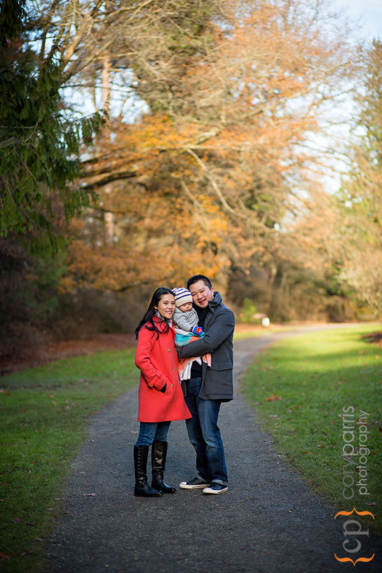 winter family portrait at the washington park arboretum
