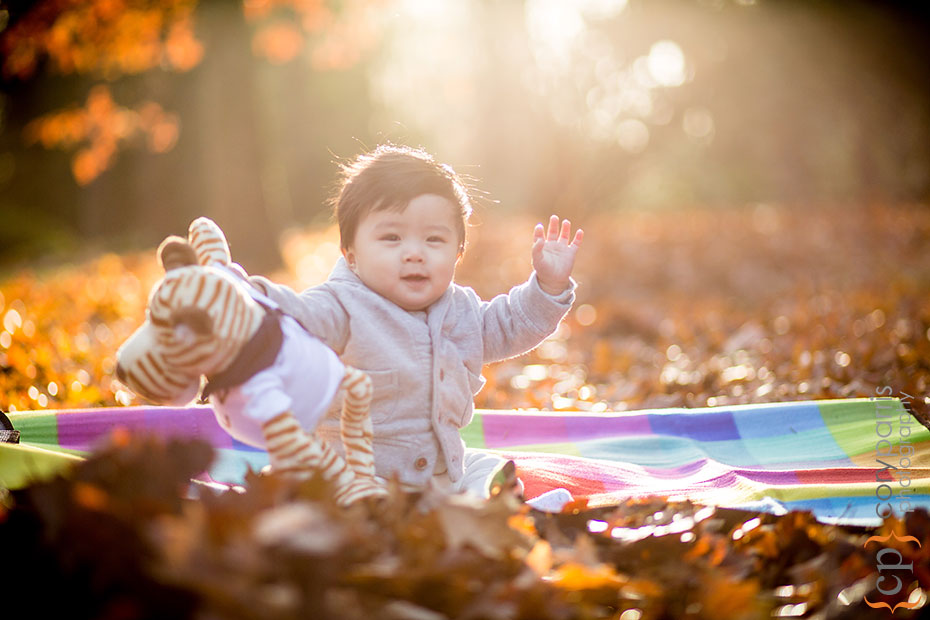 baby boy playing in the fall leaves