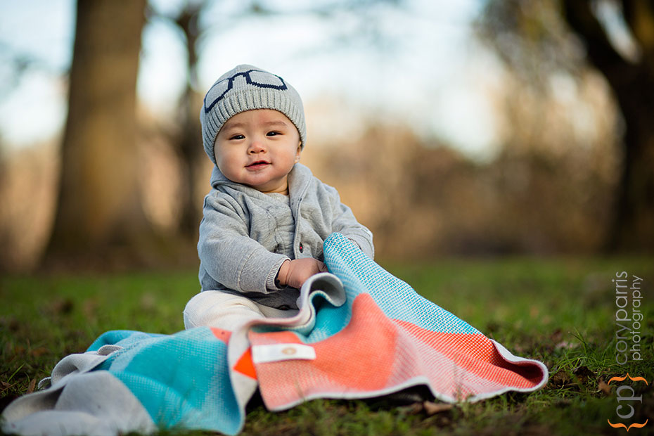 Baby boy portrait at the park