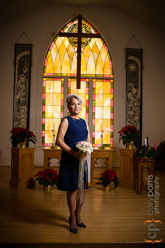 stained glass window bridal portrait