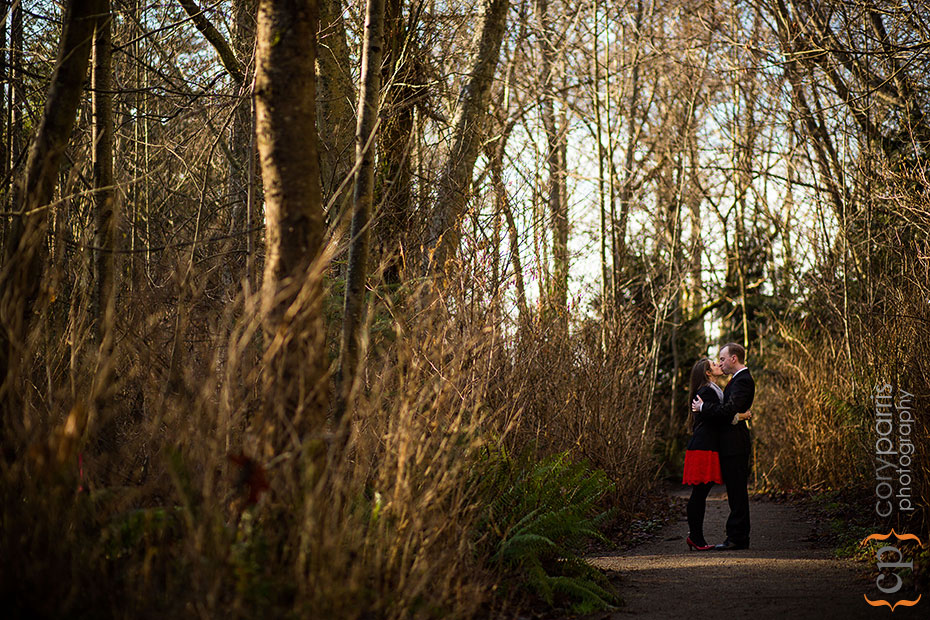 engagement portrait in the woods