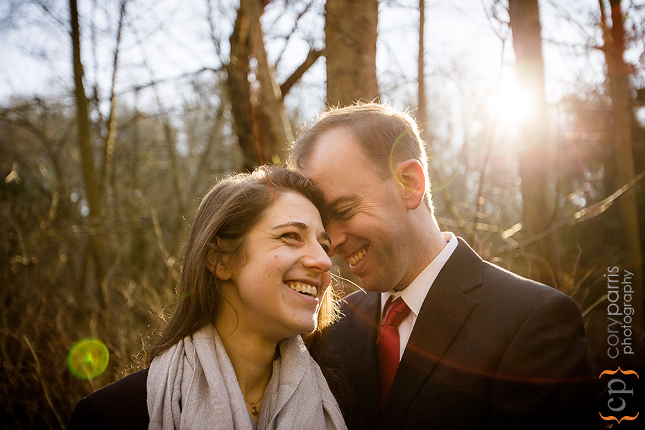 cute couple portrait with sunflare
