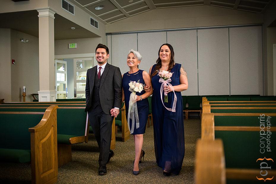 bride escorted by her children