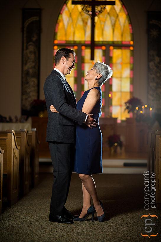 couple portrait in United Methodist Church on Vashon Island
