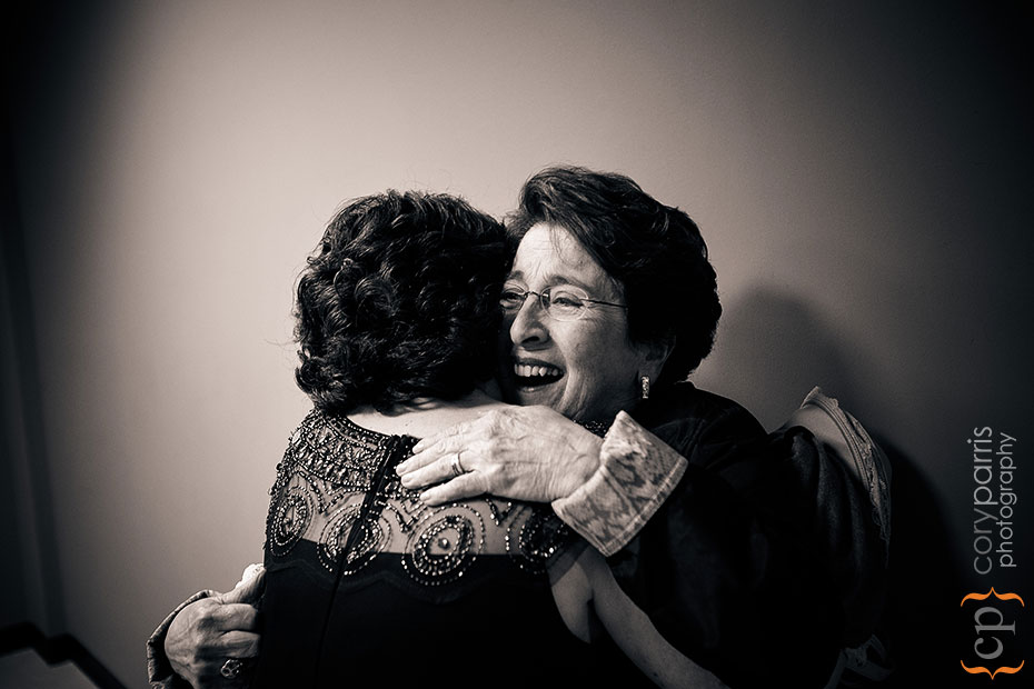 mother and grandmother hugging