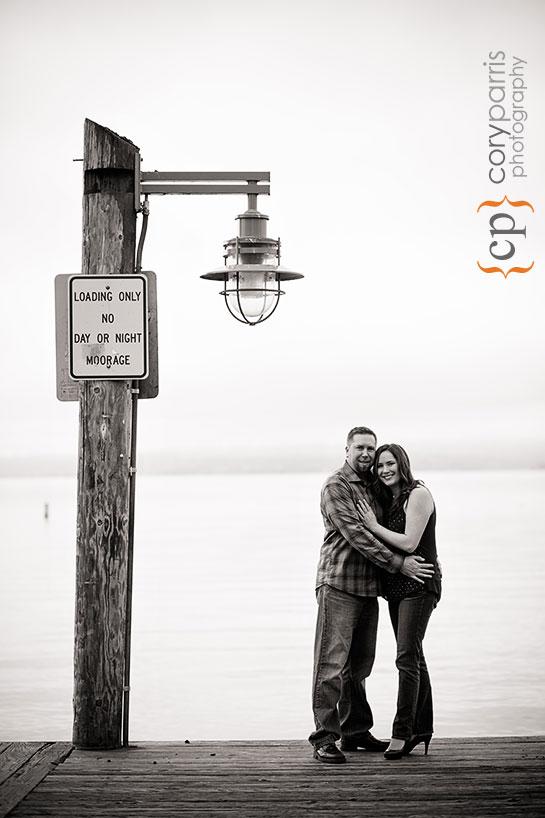 engagement portrait on a dock on Lake Washington