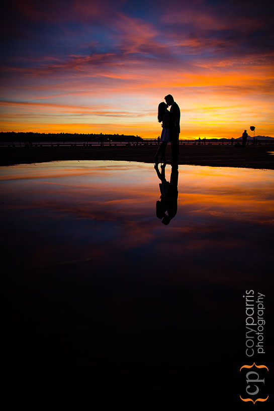Seattle sunset engagement portrait