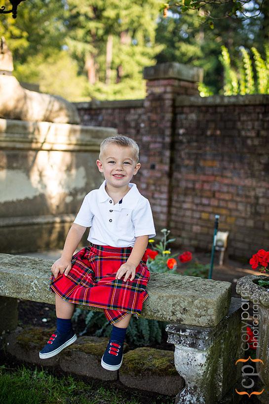 Little boy in a kilt