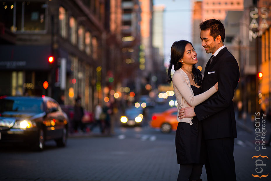engagement portrait in downtown Seattle
