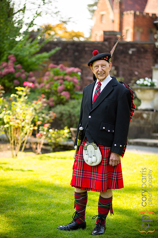 spry 80 year old in a kilt