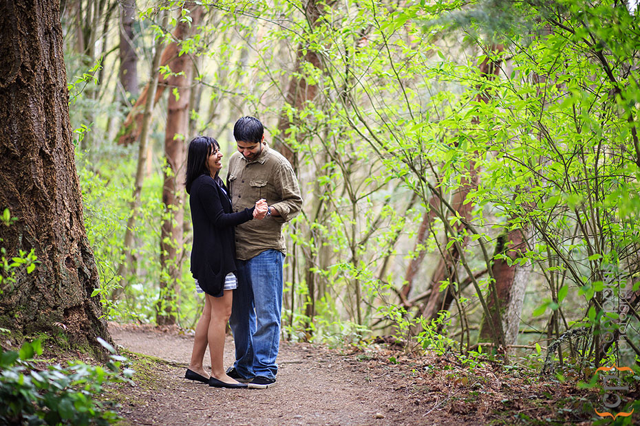 engagment portraits dancing at St Eward Park in Kirkland