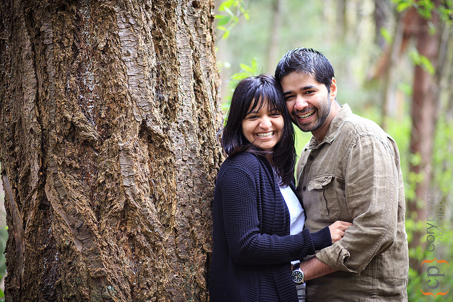 engagement portrait with a tree