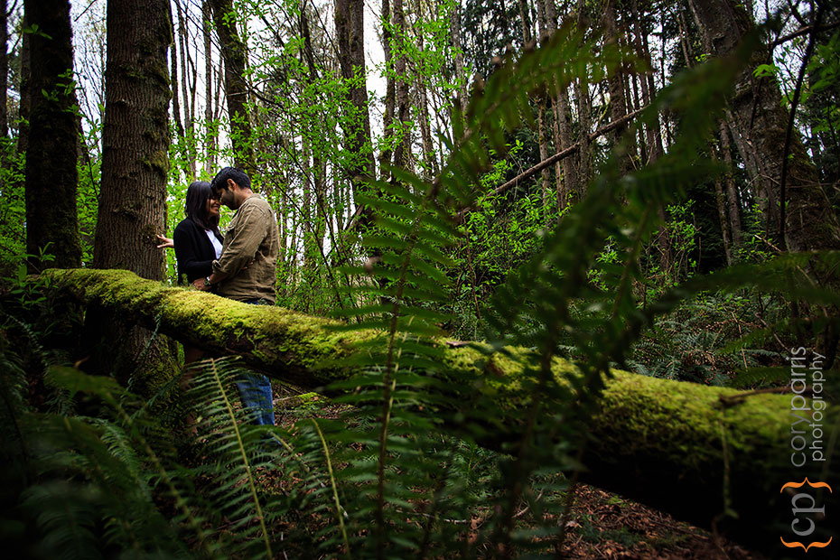 engagement portraits in the woods