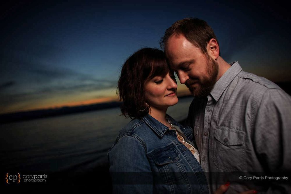 Sunset engagement portrait at Golden Gardens in Seattle