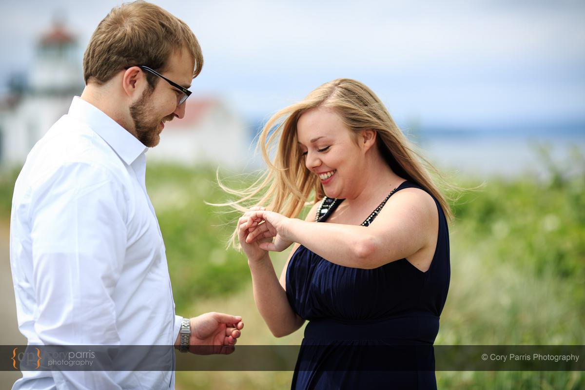 Proposal at Discovery Park in Seattle