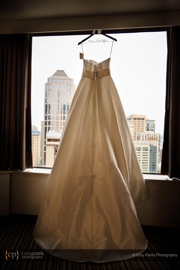 The wedding dress hanging at the hotel