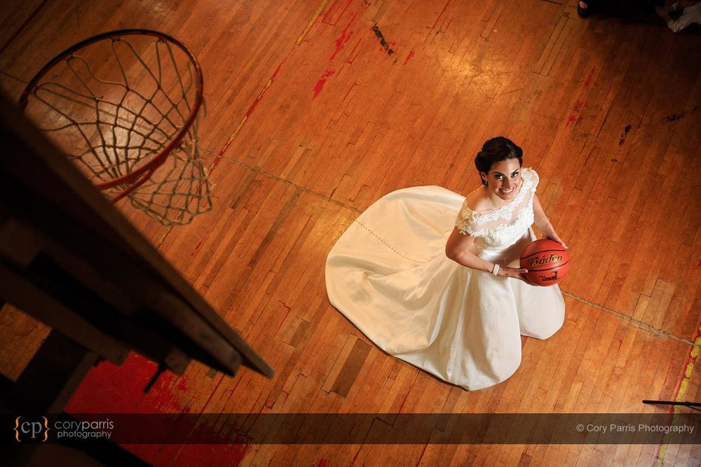 A wedding day portrait of a basketball - a big part of Kristen's life.