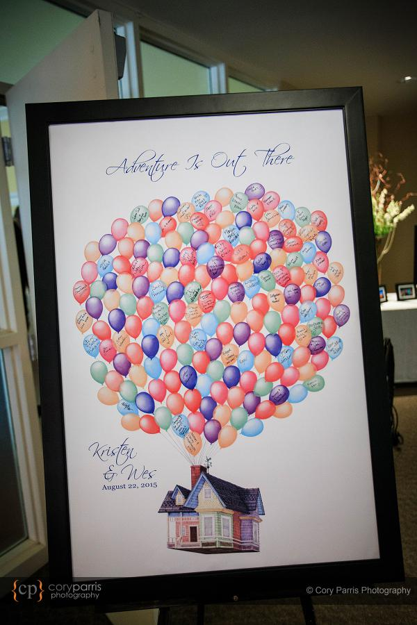 "Wedding sign in ""book"" in the style of the Disney movie ""Up"""