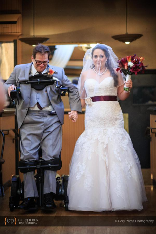 Martina's dad is in a wheelchair. For her wedding day, Martina's dad got a special chair that let him stand and walk her down the aisle. Very cool!