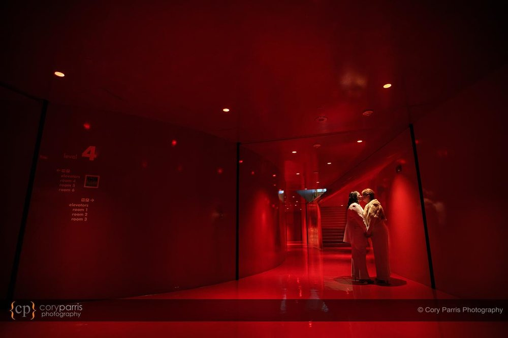 The red room in the Seattle Public Library to escape the rain for a bit.