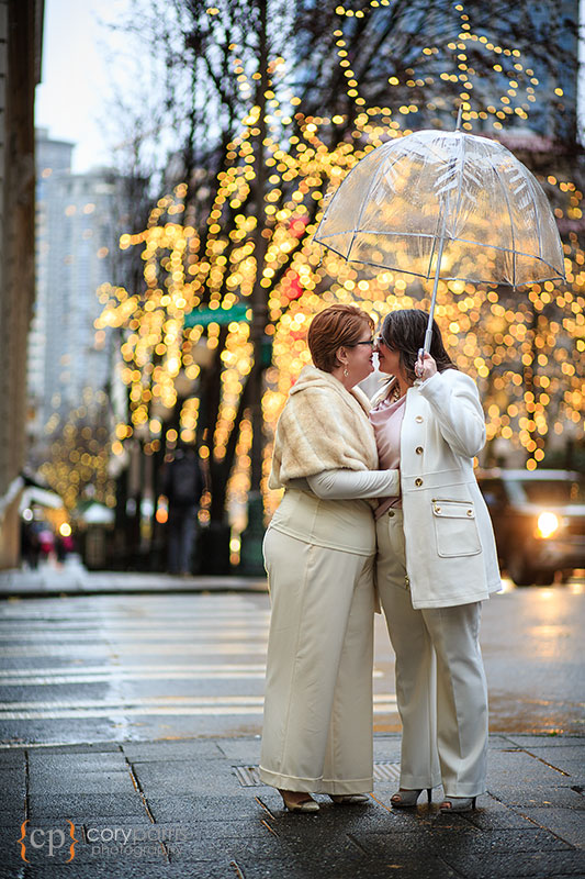 Same sex wedding on rainy day in Seattle