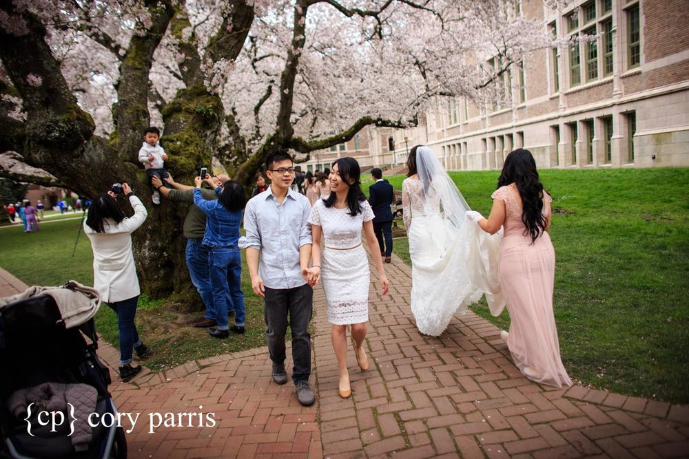 A behind the scenes photo to show what it really looks like when the cherry blossoms are out at UW. People all over taking photographs and we saw somewhere close to a half a dozen brides.