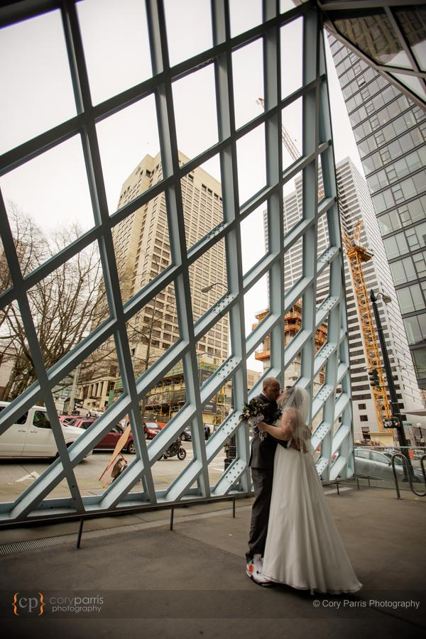 Wedding portrait at the Seattle Public Library.