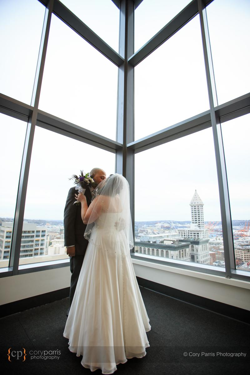 First kiss at the Seattle Courthouse wedding.