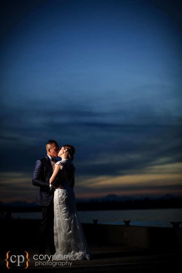 Sunset wedding portrait at the Woodmark Hotel.