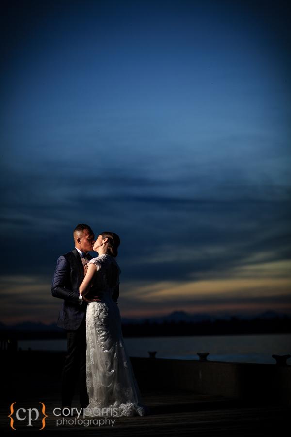 Sunset wedding portrait at the Woodmark Hotel.