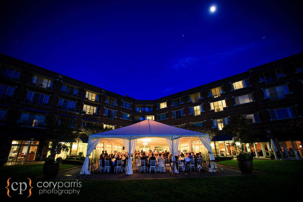 The Woodmark wedding and reception space at night.