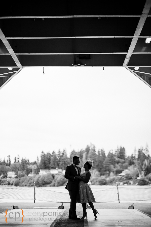 I love this shot of the two of them on the Bainbridge Island Ferry just after their on-board wedding. With their very cool mid-century attire, I felt, the b&w just feels right.