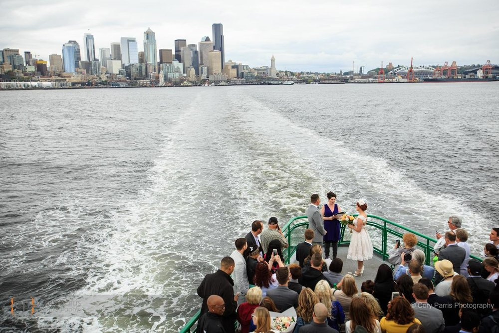 Wedding ceremony on the ferry. Awesome!