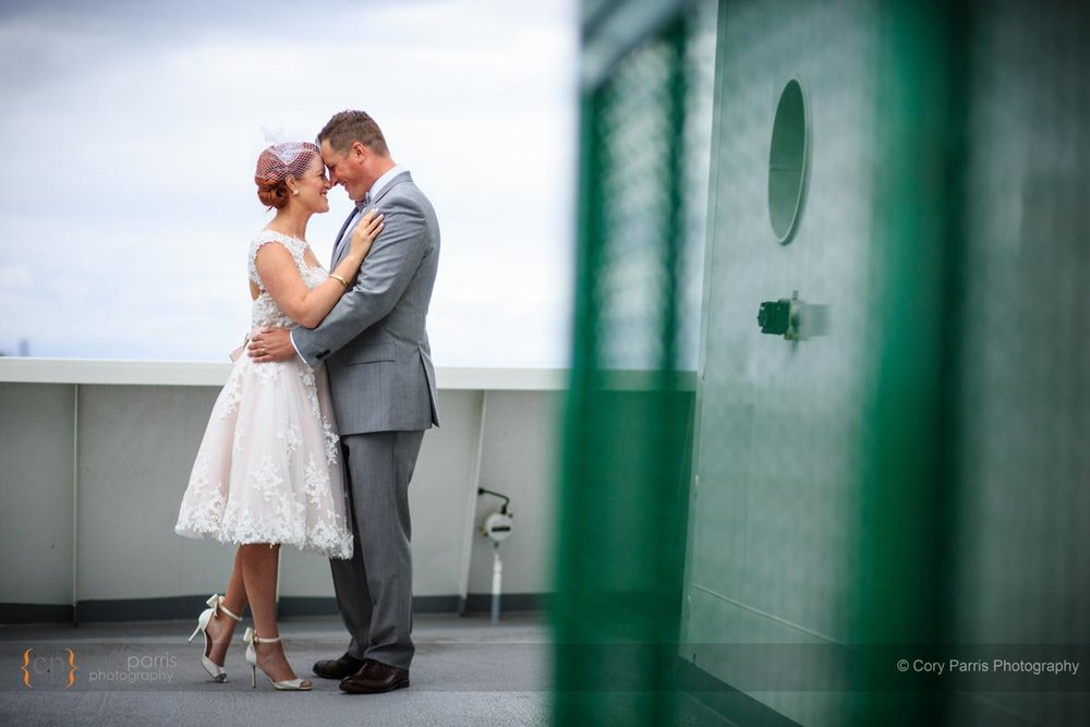Wedding couple on a ferry.