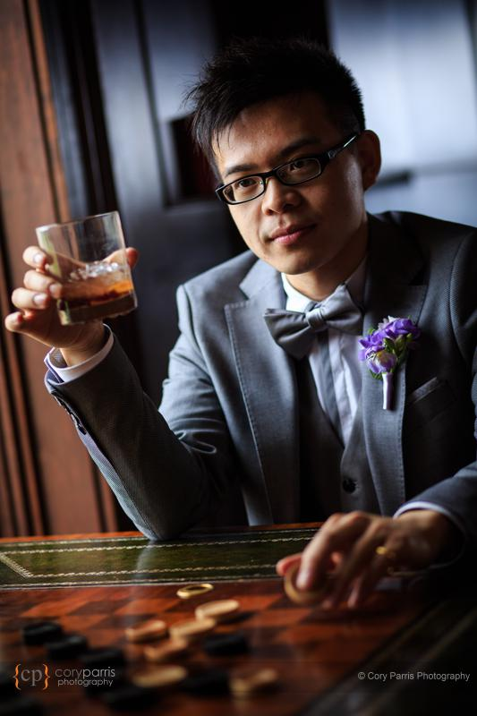 Groom, whiskey, portrait.