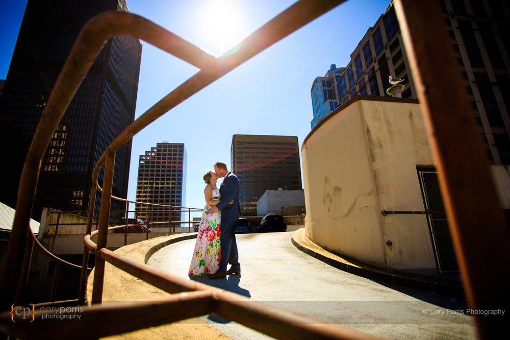 Parking lot wedding portrait