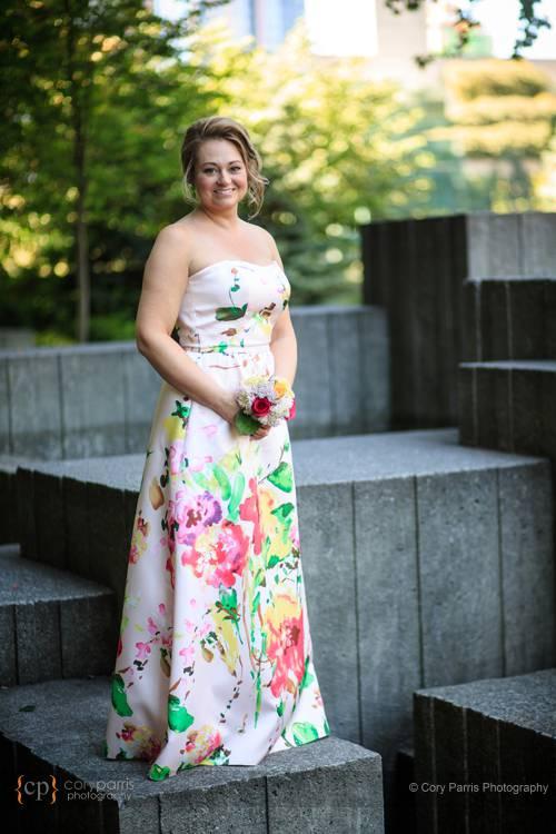 Bridal portrait at the Seattle Freeway Park