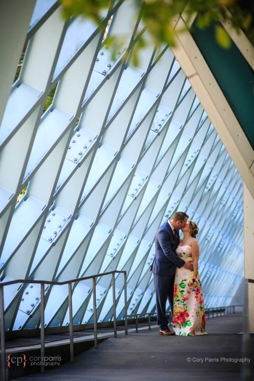 Seattle public library wedding portrait.