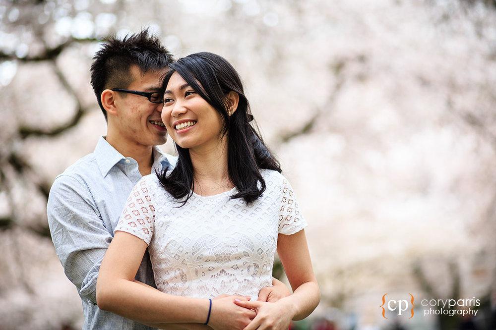UW Cherry blossom engagement portraits
