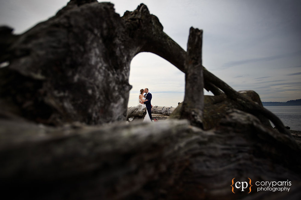 Mukilteo beach wedding portrait